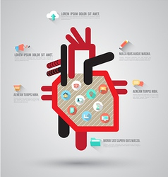 Heart with flat icons vector