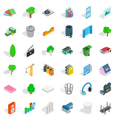 House in park icons set isometric style vector