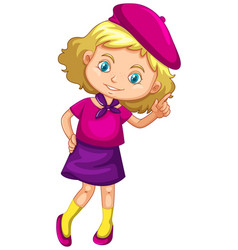 Little girl wearing purple costume vector