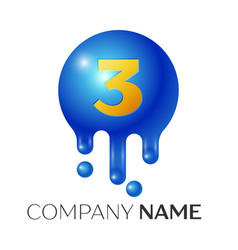 number three splash logo blue dots and bubbles vector image vector image