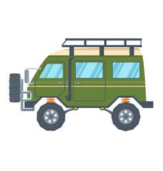 Off-road vehicle van with mud tire vector