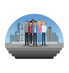 people young in the city vector image vector image