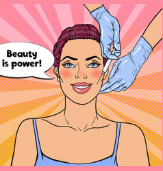 Pop art woman is getting beauty facial injection vector