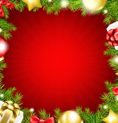 Red Xmas Card With Fir Tree vector image vector image