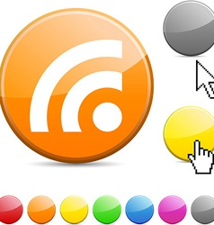 Rss glossy button vector