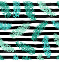 Seamless background with palm leaves on black and vector