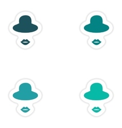 Set of paper stickers on white background hat lips vector