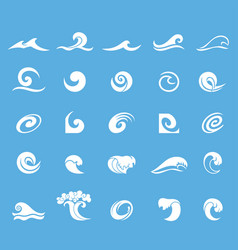 water waves icons set vector image