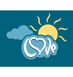 Word love with heart on cloud vector