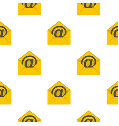 Yellow envelope with email sign pattern flat vector