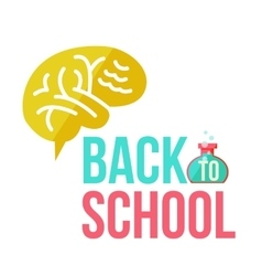Back to school poster with human brain vector image