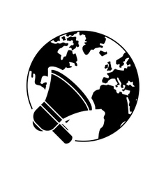 Earth globe and megaphone icon vector