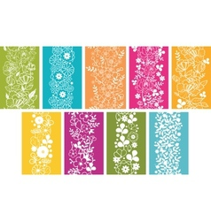 Set of nine spring flowers vertical seamless vector