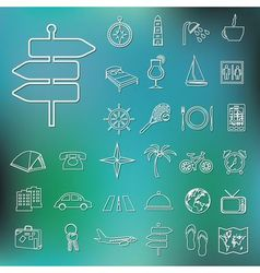 Travel and accommodation outline icons vector