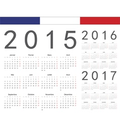 Set of french 2015 2016 2017 year calenda vector