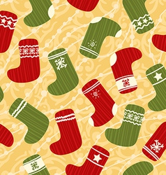 Seamless Christmas background with stockings vector image