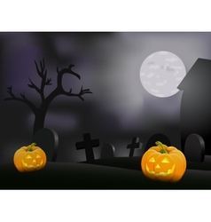 Halloween night background with pumpkin vector