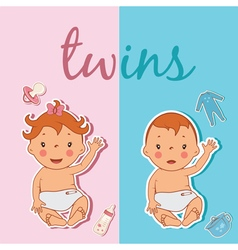 Cute twins vector