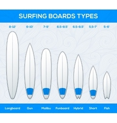 Surfing boards types and sizes infographics vector