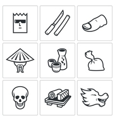 Yakuza japans organized crime icons set vector