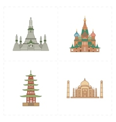 Four flat landmark icons vector