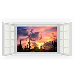 Opens window in room with view of cactus tree vector image