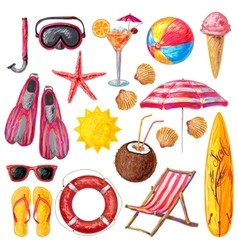 Summer holiday decorative icons set vector