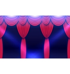 Stage curtain with spotlights and shining floor vector