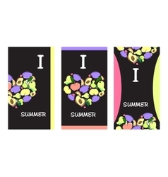 Summer fruit banners vector