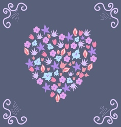 Beautiful card with a floral pattern and curls vector image vector image
