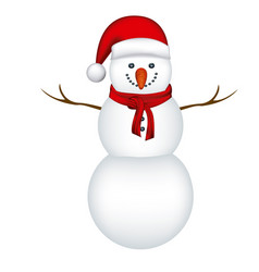 Big snowman with red hat and scarf in white vector