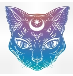 Black cat head portrait with moon vector image vector image