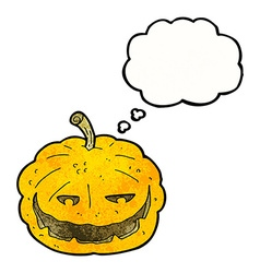 Cartoon halloween pumpkin with thought bubble vector