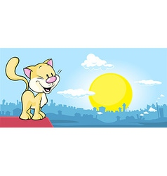 Cat is on the roof and watching the city at sunset vector
