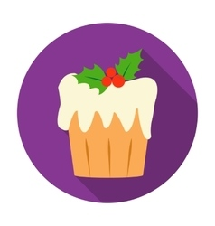 Christmas cake icon in flat style isolated on vector