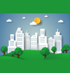 cityscape eco city paper art style vector image