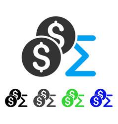 Coin summary flat icon vector