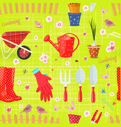 colorful seamless texture with gardening tools vector image vector image
