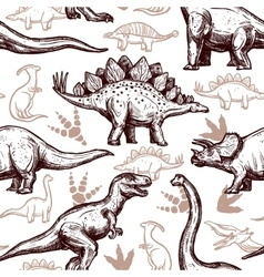 Dinosaurs footprints seamless pattern two-color vector image