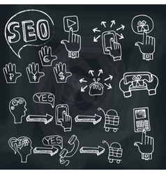 Doodle scheme main activities seo with icons vector