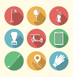 Flat colored icons for golf accessories vector image