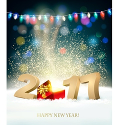 Happy new year 2017 background with a magical gift vector
