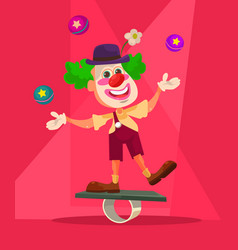 Happy smiling clown character juggling bike vector