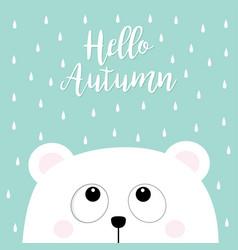 hello autumn polar white little small bear cub vector image