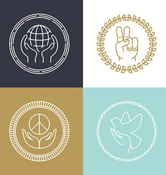 line peace signs and logos vector image vector image