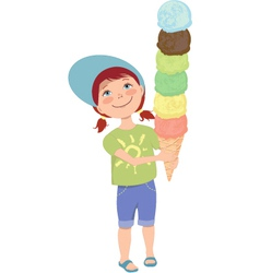 Little girl with ice cream vector image vector image