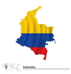 Map of Colombia with flag vector image