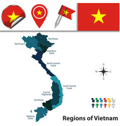 map of vietnam with regions vector image vector image