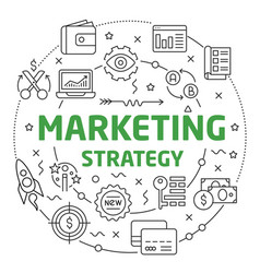 marketing strategy linear slide for vector image
