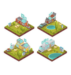 Mobile house isometric compositions vector